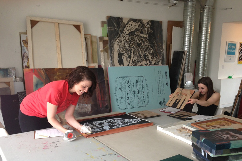 Vanessa Mastronardi and Emily MacDonald, our Curatorial Assistants, busy condition reporting some fabulous art.
