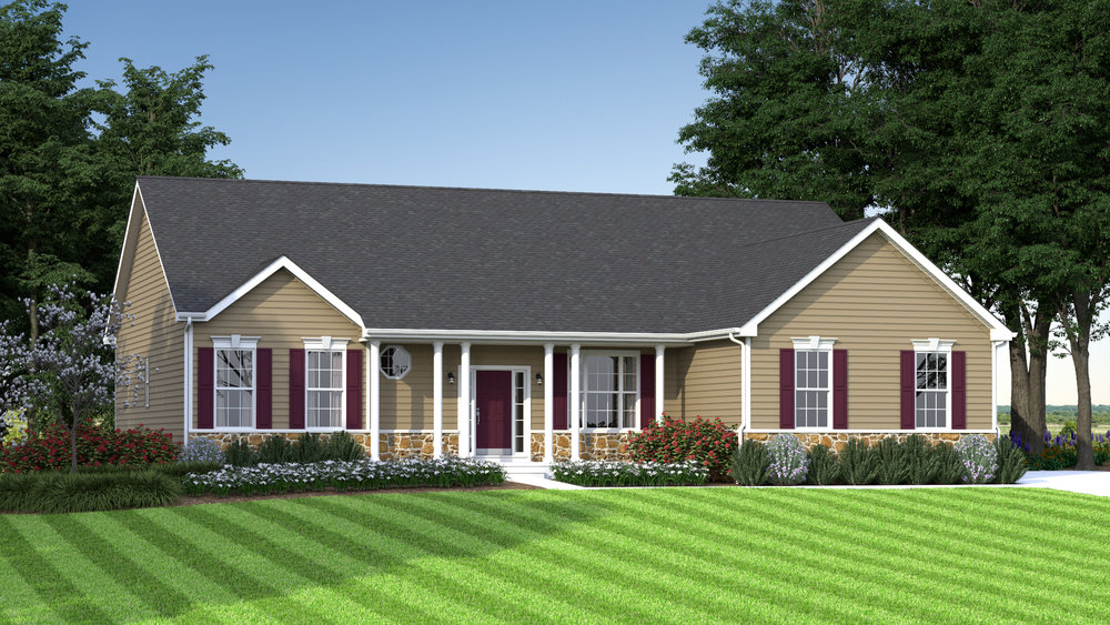 The Jefferson  2,400 sf / 3 br / 2 ba / 2 car garage Starting at $307,990