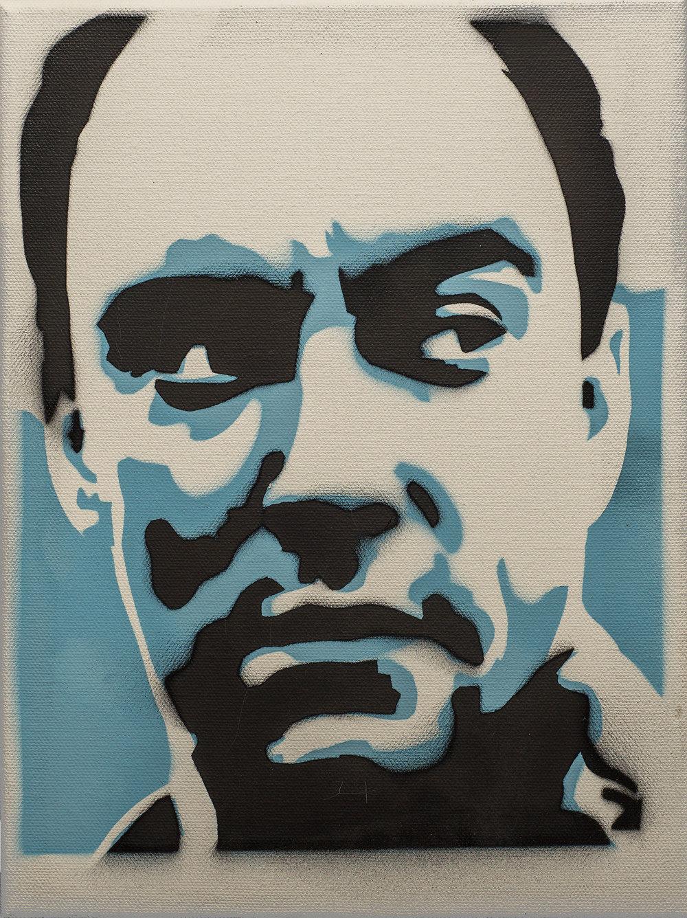 "Dave Mathews - Spraypaint on canvas 9"" x 12"""