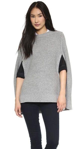 DKNY Gray Wool Cape