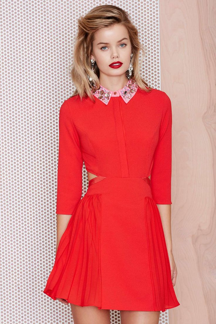 Three Floor Jewel Collar Dress