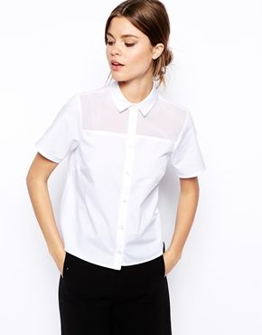 ASOS Boxy Button Down with Sheer Inserts