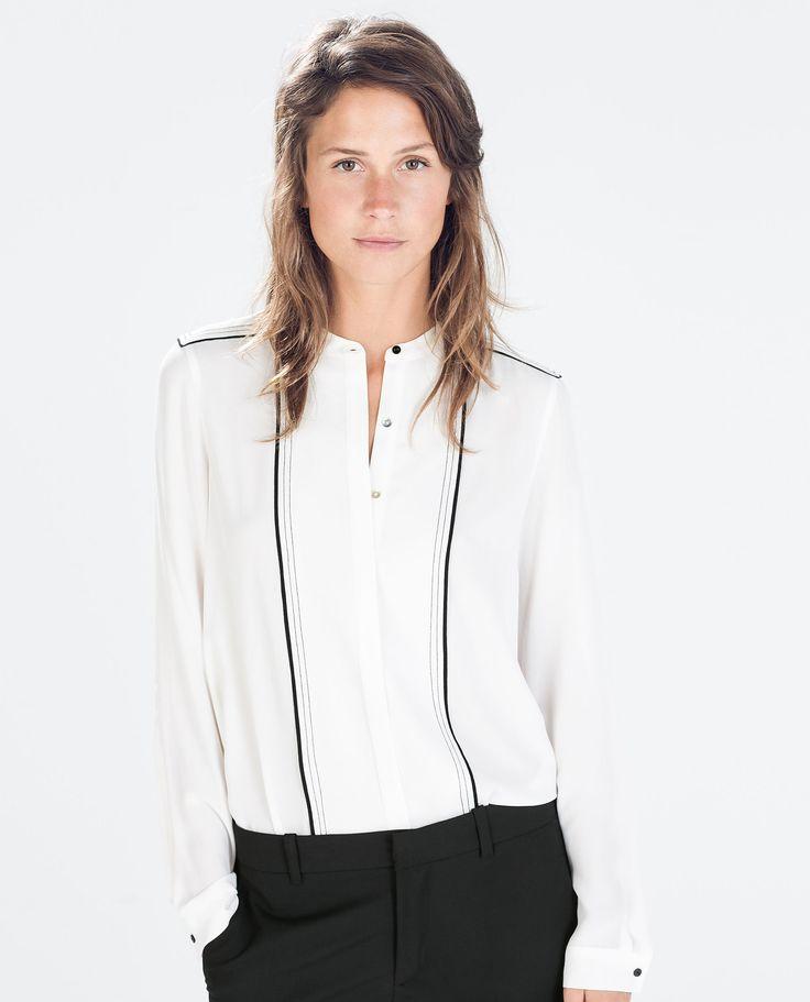 Zara Contrast Stitching Blouse