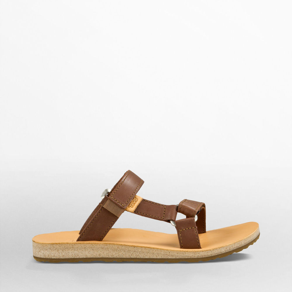 Universal Slide in Brown Leather $80