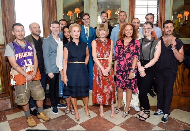 the CFDA Vogue Fashion Fund 2015 finalists with some board members. image via  Fashionista.com