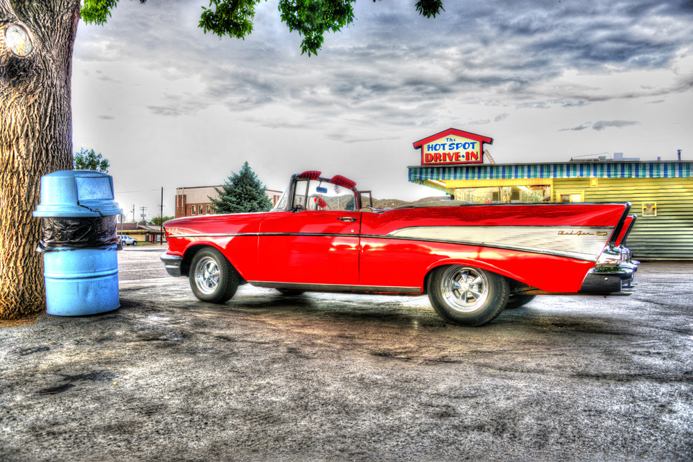 HDR image of a 57' Chev Convertible in Salina, UT