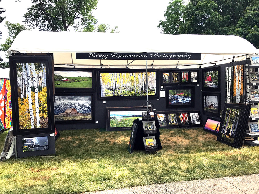 "Our new Light Dome booth allows us to display our large framed artwork.  It's 9 feet tall.  Look for us at the next art show.  We will be at Swiss Days 2017 on the very south end of the square next to the main road in the ""A"" section.  Come see us on Labor Day weekend in Midway, Utah."