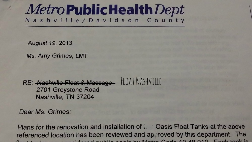 August 19th, 2013 we were approved to bring float tanks to the public for the first time in the state of TN.