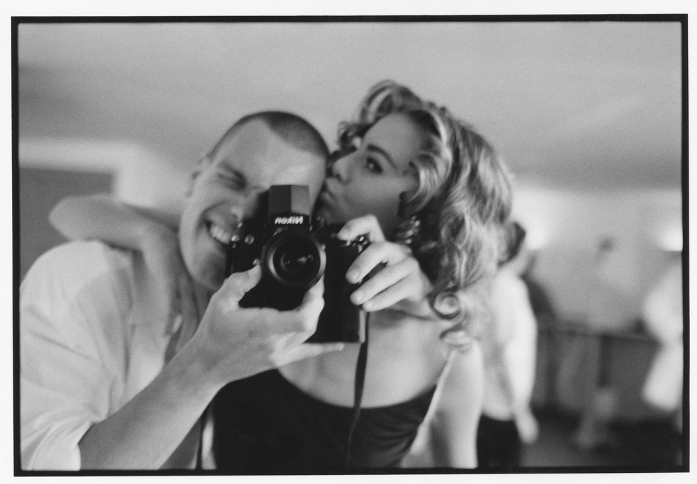 Patrik Andersson self portrait with Niki Taylor on a shoot for British Vogue shortly after moving to NYC