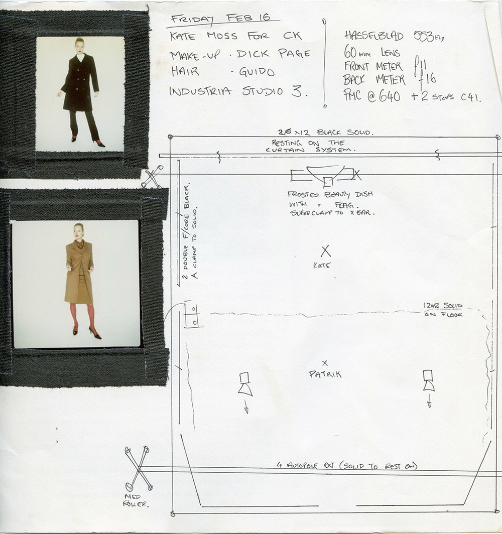 A Kate Moss shoot lighting diagram for Patrik Andersson shows the precision of the setups TY Anthony O'Dwyer