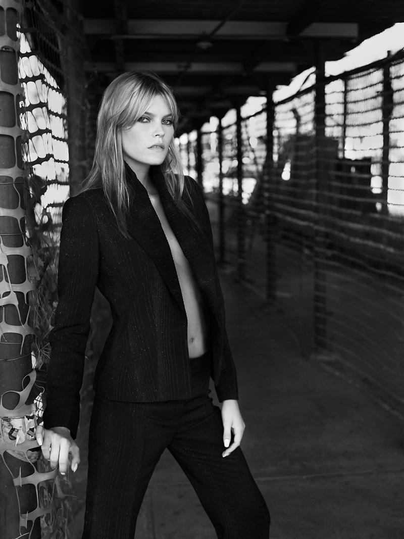 May Andersen photographed by Patrik Andersson underneath the Brooklyn Bridge