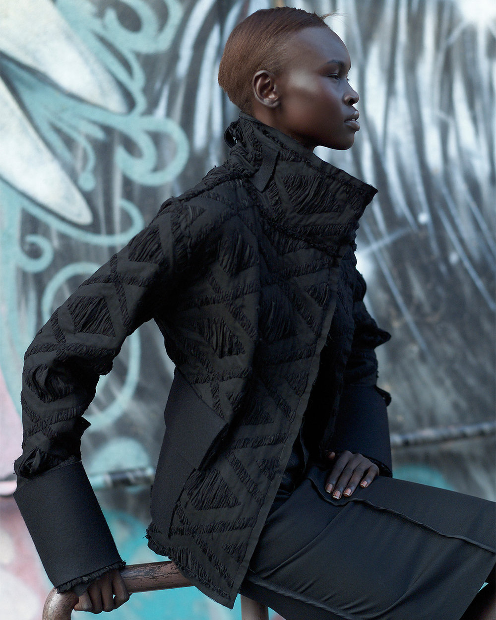 Location fashion shoot of Alek Wek by Patrik Andersson
