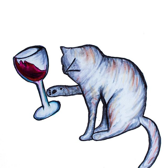 Tipsy Kitty  #art #drawing #ink #inkdrawing #cats #catsofinstagram #wine #winelover #catlover