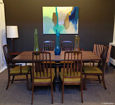 Beautiful dining set and amazing new chair from furniture maker at MidModMen photo credit Neal Kieler