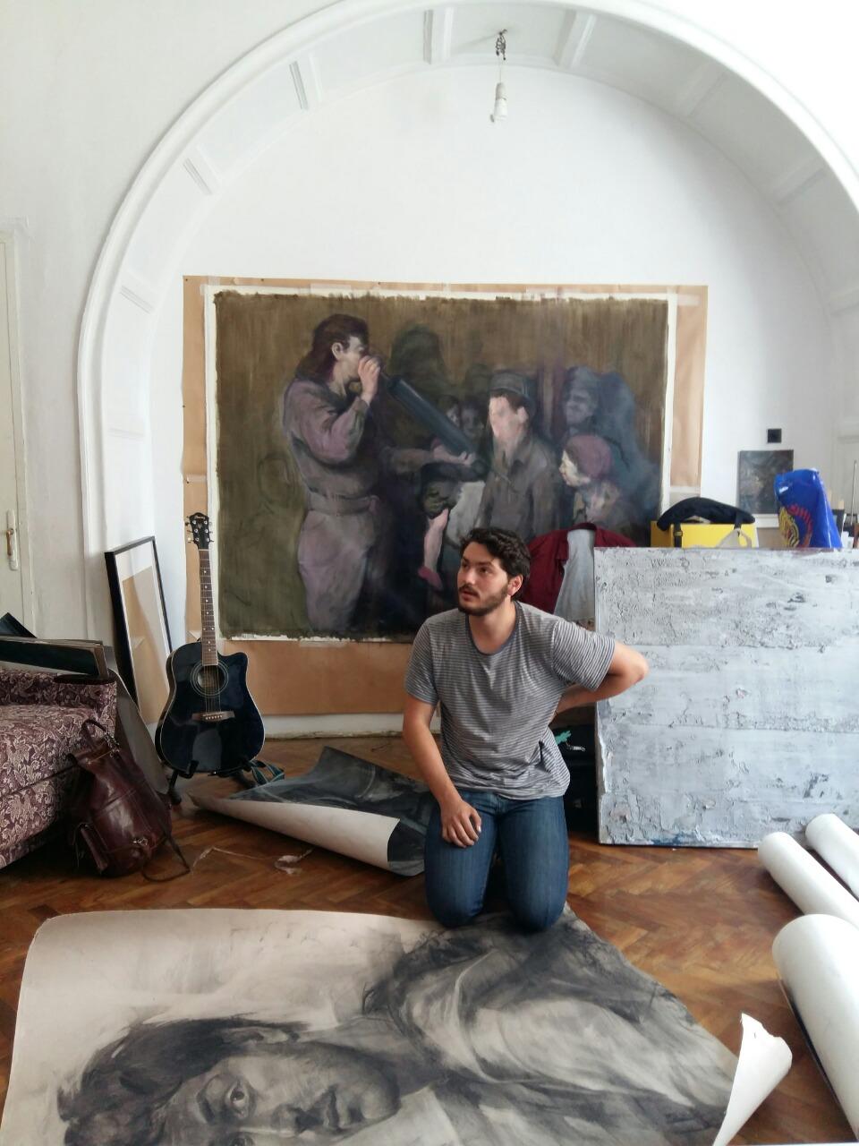 Andrei Nuţu at his Studio in Cluj, photo Dionisis Christofilogiannis