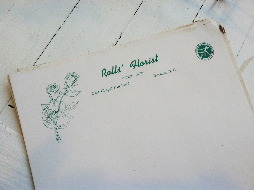 Letterhead; the original Roll's Florist was established in 1899.