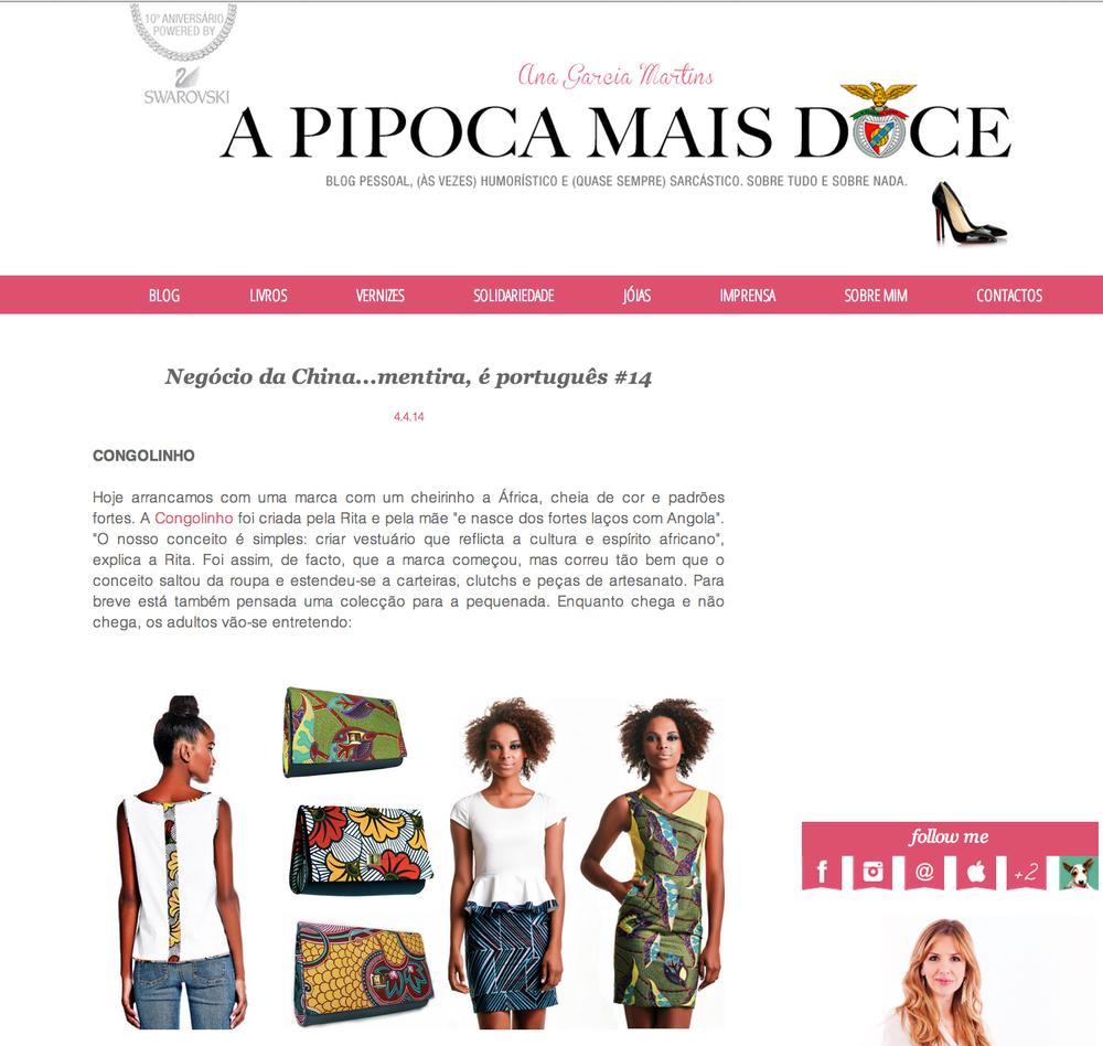 Blog A Pipoca Mais Doce, 4 Abril 2014