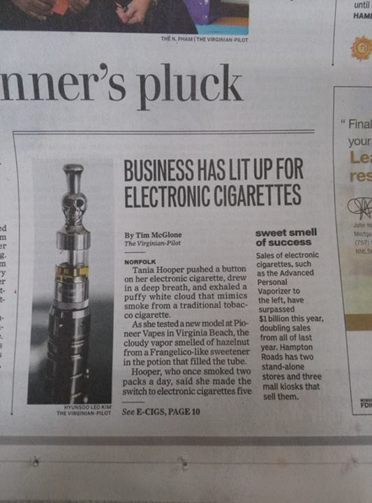 Pioneer Vapes 757 Hampton Roads FRONTPAGE on VA Pilot