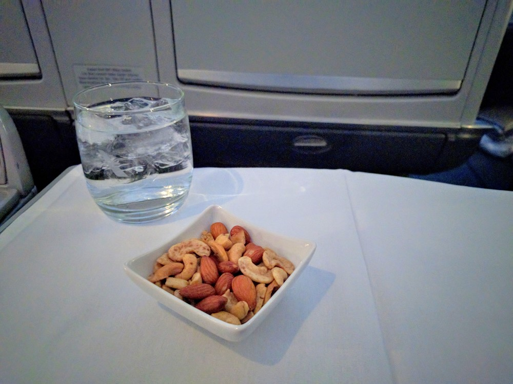 Warm nuts and Sparkling Water