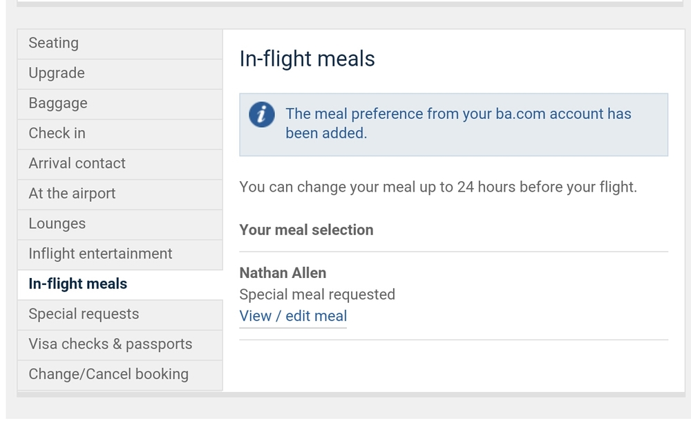 British Airways meal choice screen for International First Class