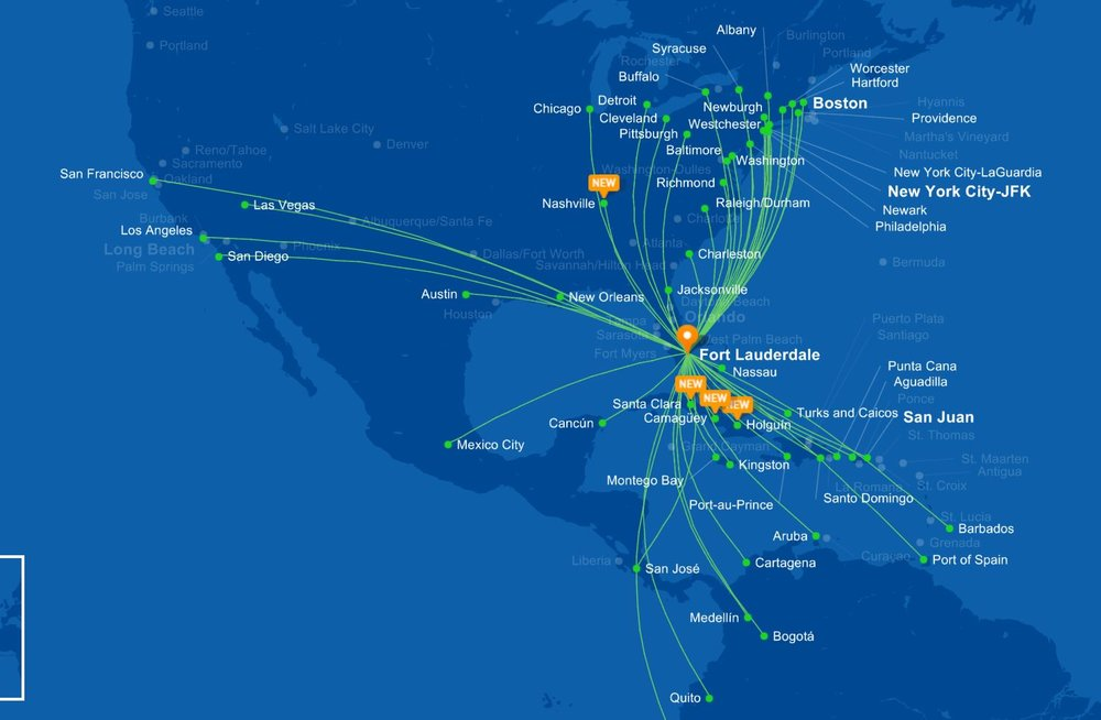 Jet Blue's Current Fort Lauderdale Routes