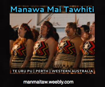 "The Manawa Mai Tawhiti logo was designed and created by Joni Brooking (Tairawhiti) Whakataka te hau ki te uru, whakataka te hau ki te tonga Kia mākinakina ki uta, kia mātaratara ki tai E hī ake ana te atākura he tio, he huka, he hauhunga Haumi e! Hui e! Tāiki e! Get ready for the westerly and be prepared for the southerly It will be icy cold inland and icy cold on the shore May the dawn rise red-tipped on ice, on snow, on frost Join! Gather! Intertwine! Established in Perth, WA in July 2009, and incorporated in October 2010 as a not-for-profit organisation, Manawa Mai Tawhiti is a traditional Māori Performing Arts group where we learn, participate, join and celebrate being Māori.   The retention of traditional Māori language and customs is influenced by music, dance and lyrics and these are aspects that are very important to us. Our name Manawa Mai Tawhiti means ""Yearning from afar"".  This name derives from our collective yearning for all things that are home (NZ), and that although we live and work in Perth and wider Western Australian community, it is important to retain and maintain cultural essence away from NZ, whilst respecting other cultures and peoples.   We acknowledge the traditional custodians on the lands where we are based, the Nyungar Aboriginal People of the South West of Western Australia – The Elders, both past and present, and pay our deep respects to them. Kia ora tātou.1"