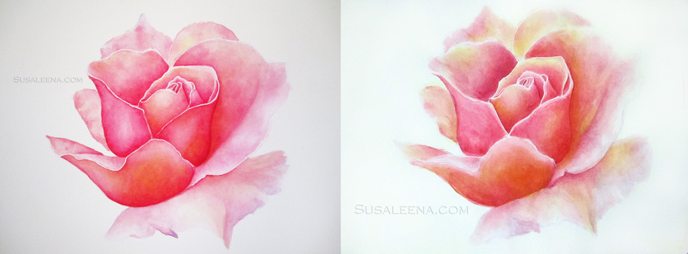 Left: Re-painted on Aquaboard  Right: Originally speed painted in Moleskine journal