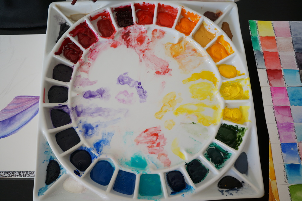 Updated photo of my now abused Stephen Quiller palette. I rarely clean it unless I need more mixing space for a new piece.