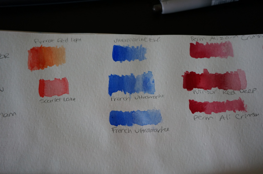 The first row are Qor watercolors, second row is W&N and the third are all M.Graham paints.