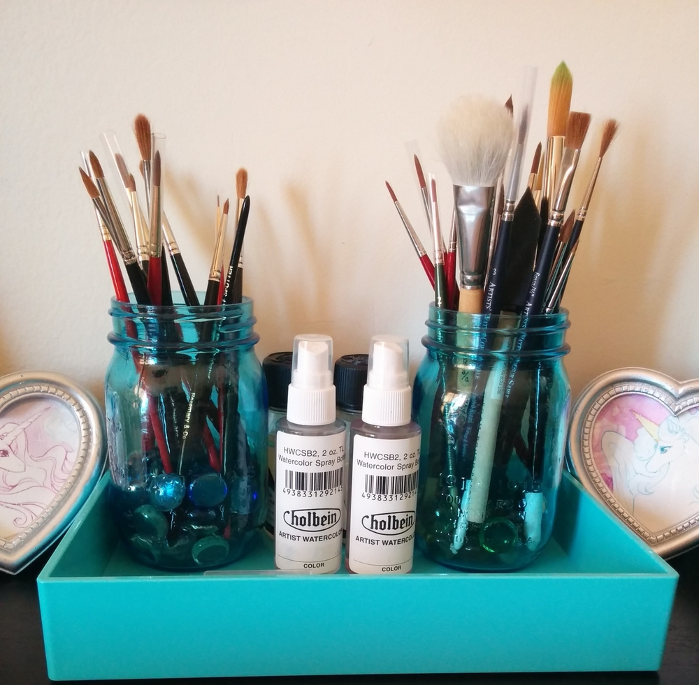 The aqua accessory tray is just perfect for my mason jar brush holders. Love them!