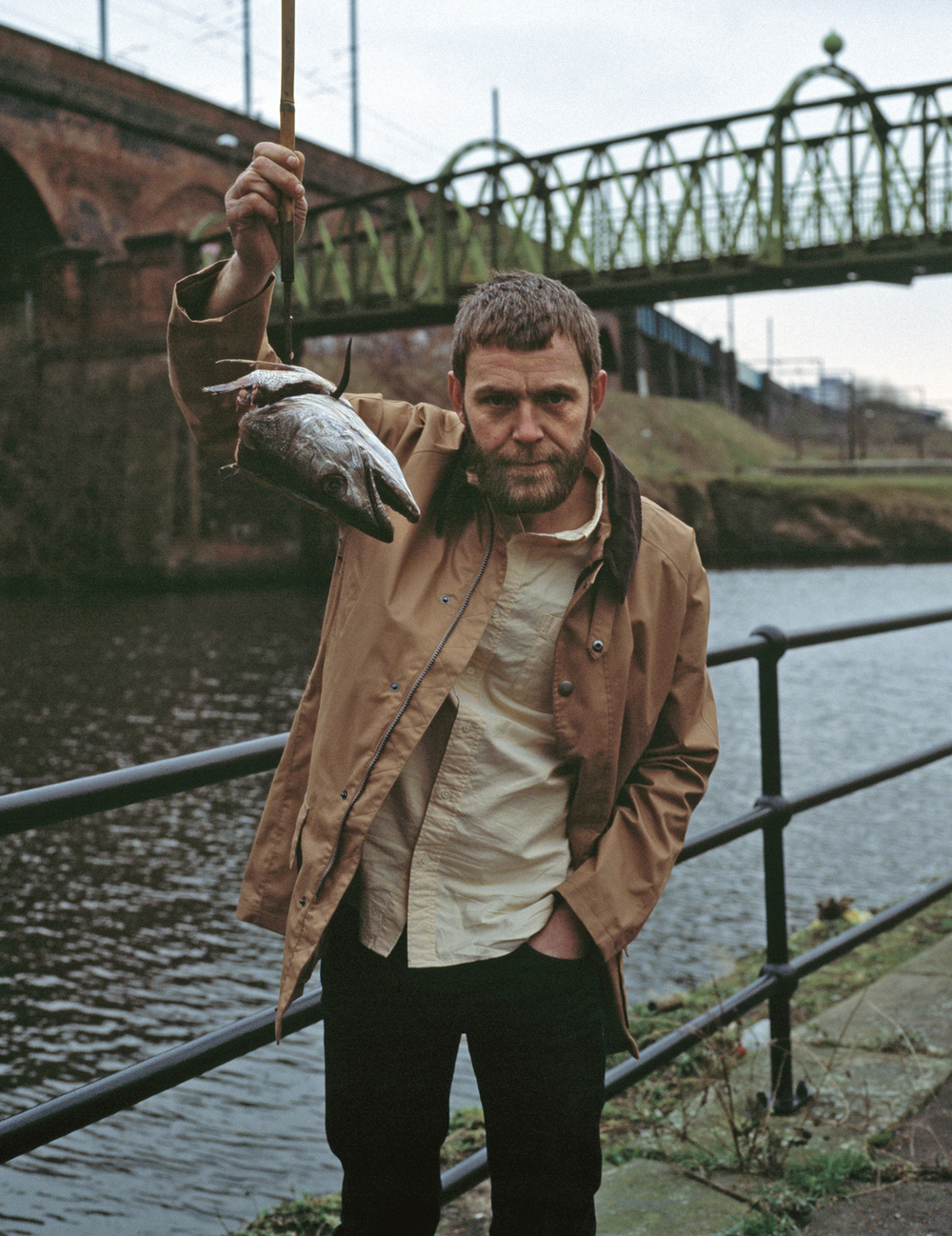 Jacket by Barbour, shirt by Beams+, fish head on a hook – model's own