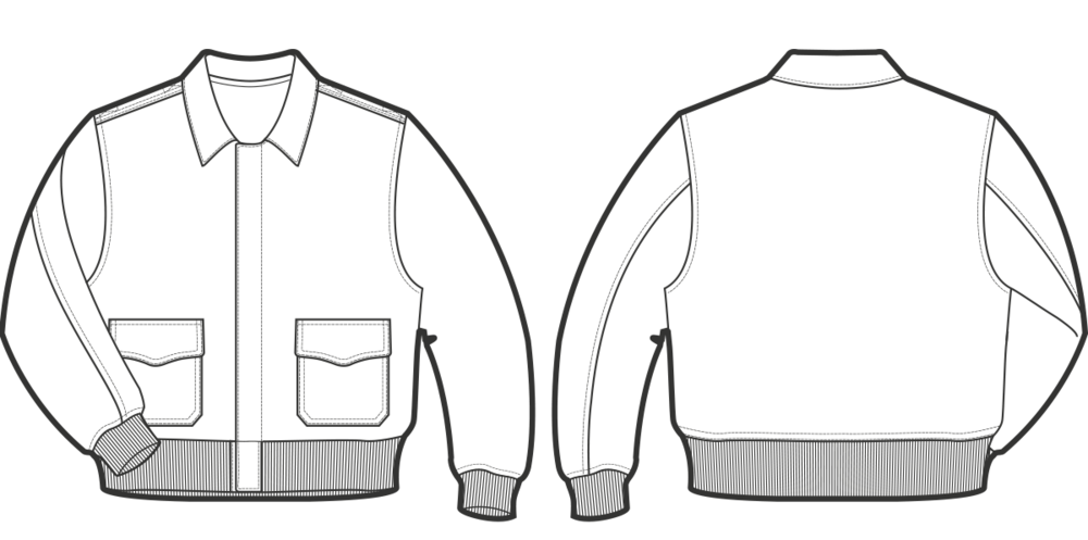 A-2, 1930 Shirt collar, zipper fastened front.