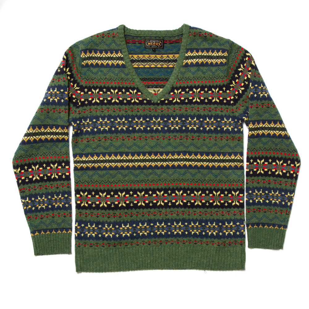 Beams Plus Fair Isle V-Neck Knit £119