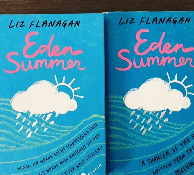 Here's past evidence of the team's work: beautiful cover design by Alison Gadsby and a German edition of Eden Summer next to the UK one, as negotiated by Bron at DFB, translated by Sabine Schulte and published by Aladin Verlag in Germany!