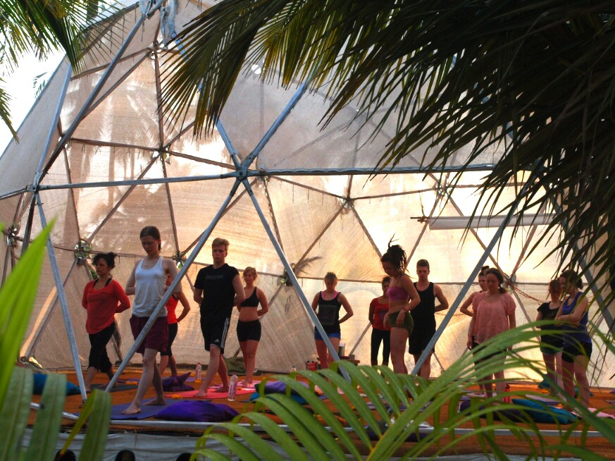 Morning yoga class at the Mandala Resort in Goa India