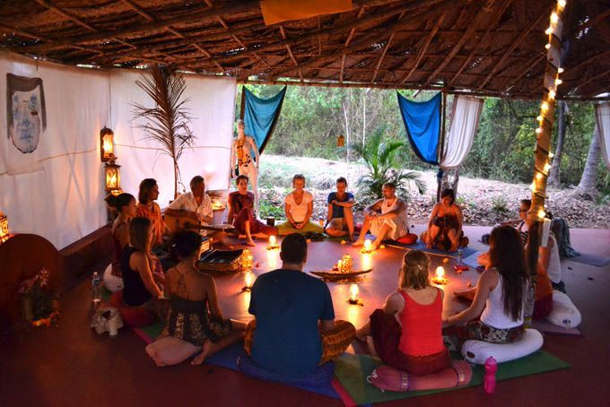 Yoga retreat practicing in the yoga shala at The Mandala Goa