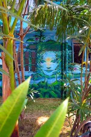 A mural on the outside of The Mandala Resort in Mandrem, Goa India