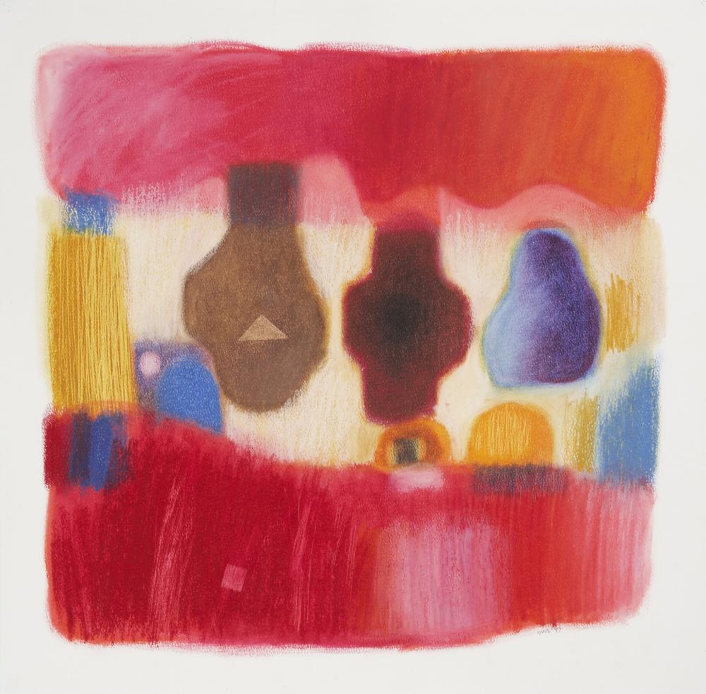 Large Red Interior - Oil Pastel