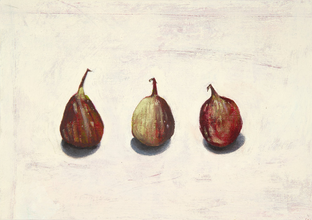Three Over-ripe Figs - Acrylic on board