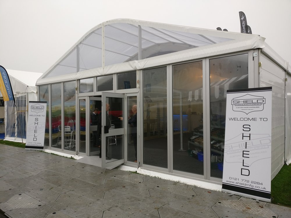 Shield's glass door at the showmans's show 2017