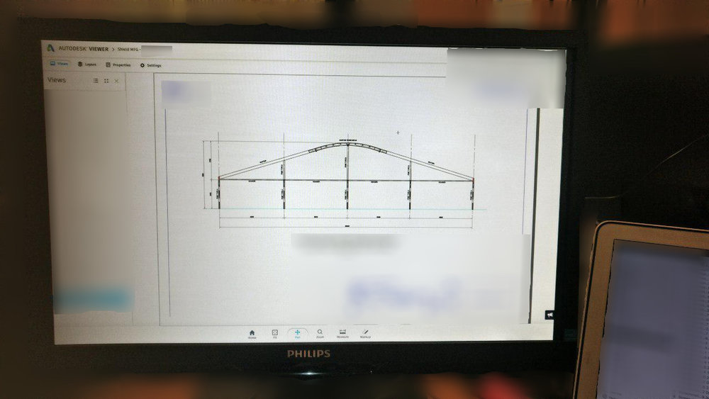 Some of the first drawings for the PRF range - showing of the 20m structure with a curved roof beam