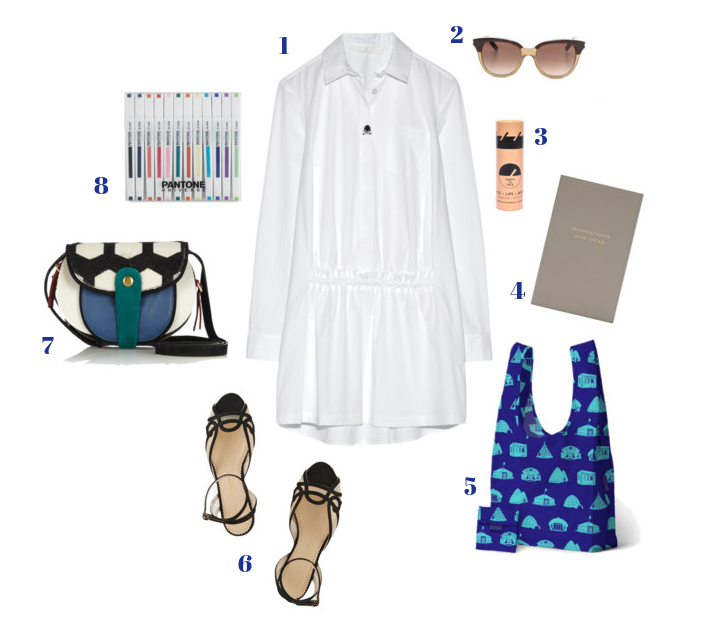 1. Thakoon Addition shirtdress | 2. Saint Laurent gradient sunglasses | 3. Earth tu Face All-in-One Skin Stick | 4. Smythson Panama Notebook | 5. Baggu | 6. Charlotte Olympia suede & mesh sandals | 7. Jerome Dreyfuss Momo shoulder bag | 8. Pantone Universe marker