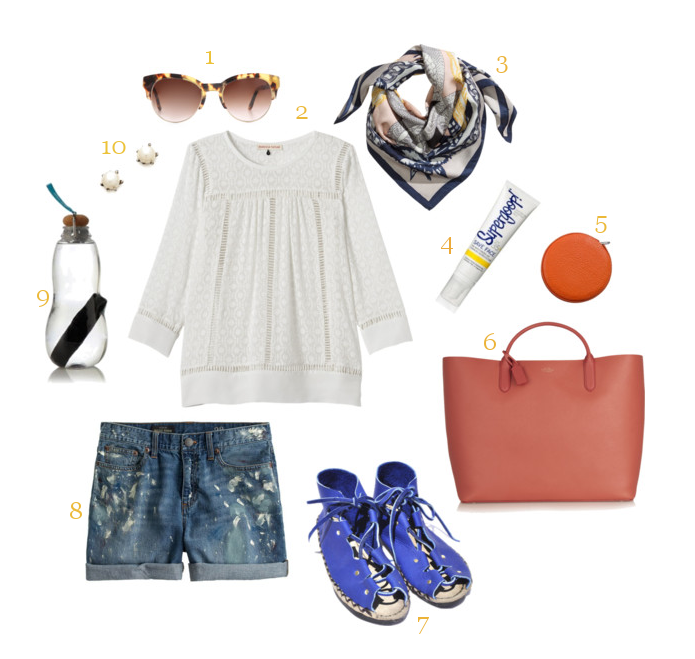 1.  Stella McCartney sunglasses  | 2.  Rebecca Taylor shirt  | 3.  H&M silk scarf  | 4.  Supergoop sunscreen  | 5.  Leather tape measure  | 6.  Smythson tote  | 7.  Beatrice Valenzuela bootie sandals  | 8.    J.Crew Collection painted jean short  s  | 9.  Black + Blum water bottle  | 10.  Lauren Wolf pearl earrings