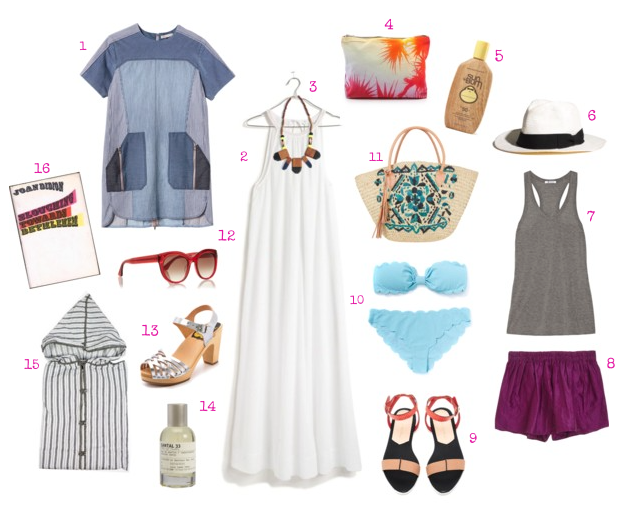 1.   Rebecca Taylor denim dress   | 2.   Madewell sandcastle cover up   |   Bluma Project necklace   |  4.   Samudra pouch   | 5.   Sun Bum SPF 50   | 6.   Panama hat   | 7.   T by Alexander Wang jersey tank   | 8.   Calypso St. Barth silk dupioni shorts   | 9.   Loeffler Randall sandal   | 10.   Marysia bikini   | 11.   Natalie Martin tote   | 12.   Thierry Lasry sunglasses   | 13.   Swedish Hasbeens sandals   | 14.   Le Labo Santal 33 perfume   | 15.    Ace Palm Springs pullover robe   | 16.   Joan Didion  Slouching Towards Bethlehem