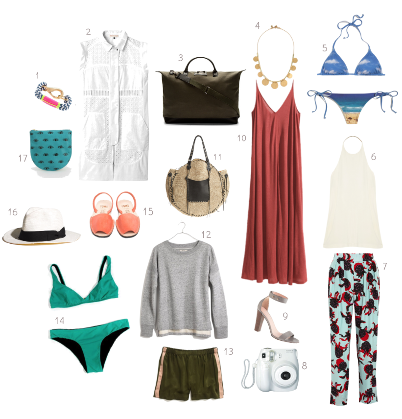 1.  The Ropes bracelet  | 2.  Rebecca Taylor dress  | 3.  WANT Les Essentiels de la Vie weekender  | 4.  Madewell necklace  | 5.  Madewell bikini  | 6.  T by Alexander Wang top  | 7.  See by Chloé pants  | 8.  Fujifilm Instax mini camera  | 9.  J.Crew stacked-heel sandals  | 10.  H&M maxi dress  | 11.  Sans-Arcidet bag  | 12.  Madewell sweatshirt  | 13.  Thom Dolan shorts  | 14.  Laura Urbinati bikini  | 15.  Avarcas Pons sandals  | 16.  Panama hat  | 17.  Baggu leather pouch