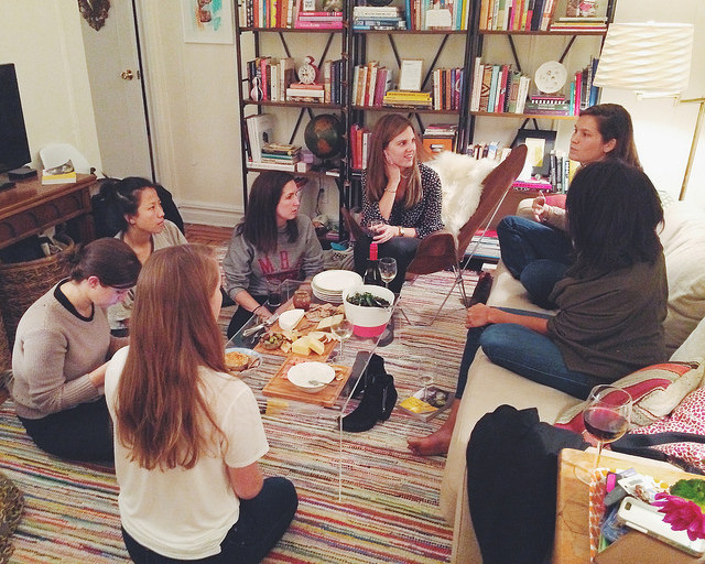Our first book club meeting chez moi. Look at all of those captivated faces!