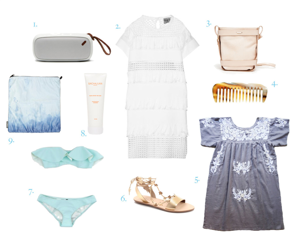 1. StandardSounds x NudeAudio speaker | 2. Sea fringed dress | 3. All Hands purse | 4. Horn pocket comb | 5. Superfussy embroidered dress | 6. Loeffler Randall ankle-wrap sandals | 7. Lisa Marie Fernandez bikini | 8. Sachajuan Hair After the Sun | 9. Summer Bummer coated denim pouch