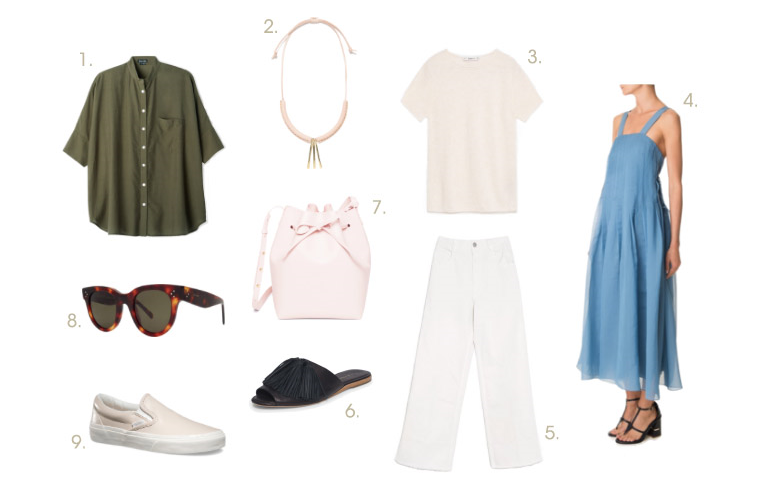 1. Steven Alan Oversized Stand Collar Shirt | 2. Crescioni Willow Necklace | 3. Zara Short-Sleeve Sweater | 4. Tibi Isa Organza Dress | 5. Rachel Comey Legion Gaucho Pant | 6. Loeffler Randall Kiki Slide | 7. Mansur Gavriel Bucket Bag in Rosa | 8. Céline Baby Audrey Sunglasses | 9. Vans Leather Slip-Ons