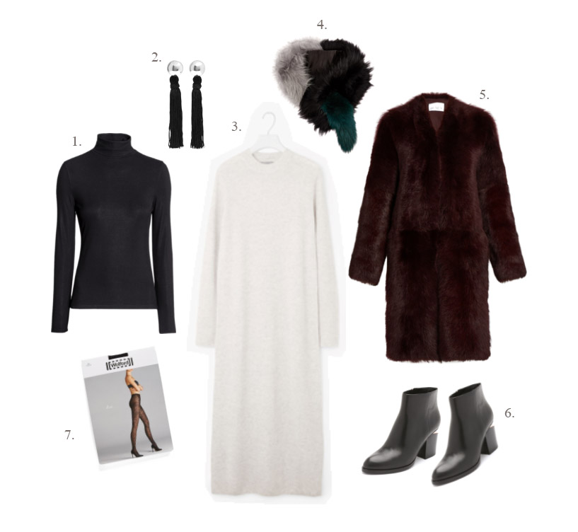1.  H&M ribbed black turtleneck  | 2.  Sophie Buhai Vanderbilt tassel earrings  | 3.  Cos long knit dress  [ sold out  -  similar available here ] | 4.  Charlotte Simone faux fur popsicle scarf  | 5.  Raey shearling coat  | 6.  Alexander Wang Gabi boots  | 7.  Wolford Zoi tights
