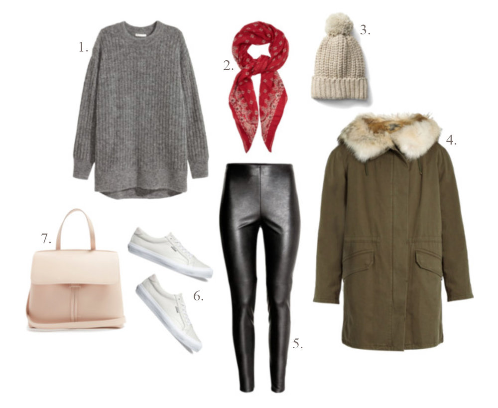 1.  H&M oversized mohair-blend sweater  | 2.  Saint Laurent bandana-print scarf  | 3.  Gap ribbed beanie  [ sold out  -  similar here ] | 4.  Yves Soloman fur-lined parka  | 5.  H&M faux leather leggings  | 6.  Vans leather court sneaker  | 7.  Mansur Gabriel Lady bag